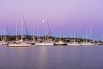 Sunrise over Boats in Cuttyhunk Pond with Setting Moon, Cuttyhunk Island, Elizabeth Islands, Town of Gosnold, MA