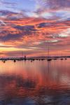 Sunrise over Boats and Lighthouse at Edgartown Harbor, Martha's Vineyard, Edgartown, MA