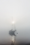 "Sun Breaking Through Fog over Sailboat ""Brown Eyes"" in Early Morning Calm, Pine Island Bay, Off Fishers Island Sound, Groton, CT"