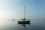 Sailboats in Fog in Early Morning Calm, Pine Island Bay, Off Fishers Island Sound, Groton, CT
