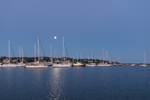 Moon Shines over Boats in Cuttyhunk Pond before Dawn, Cuttyhunk Island, Elizabeth Islands, Town of Gosnold, MA