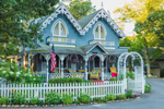 Blue Gingerbread House with White Picket Fence and Arbor, Martha's Vineyard Camp Meeting Association, National Register of Historic Places, Oak Bluffs, MA