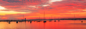 Sunrise over Boats and Lighthouse at Edgartown Harbor, Martha's Vineyard, Edgartown, MA