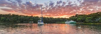 Sunset over Swans and Boats on Lake Tashmoo, Martha's Vineyard, Tisbury, MA