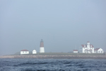 View of Point Judith Lighthouse in Fog from the Water, Block Island Sound, Rhode Island Sound, Narragansett Bay, Narragansett, RI