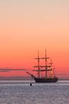 "Sunrise over Tallship ""Oliver Hazzard Perry"" in Cuttyhunk Harbor, Cuttyhunk Island, Elizabeth Islands, Town of Gosnold, MA"