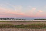 Full Moon over Boats in Cuttyhunk Pond at Sunrise, Cuttyhunk Island, Elizabeth Islands, Town of Gosnold, MA