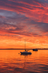 Dramatic Sunrise over Boats on Sakonnet River at Third Beach Anchorage, Middletown, RI