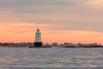 Sakonnet Point Lighthouse at Sunrise, Sakonnet River and Rhode Island Sound, Little Compton, RI