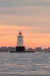 Sakonnet Point Lighthouse at Sunrise, Sakonnet River and Rhode Island Sound, Little Compton, RI