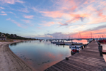 Sunrise over Pier and Boats in Vineyard Haven Harbor, Vineyard Haven, Martha's Vineyard, Tisbury, MA