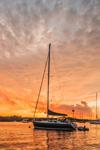 Sunset over Boats in Great Salt Pond, New Shoreham, Block Island, RI