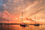 Sunset over Boats in Great Salt Pond, New Shoreham, Block Island, RI