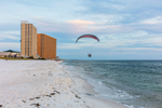 Paraglider at Biltmore Beach on Gulf of Mexico, Gulf Coast, Florida Panhandle, Panama City Beach, FL