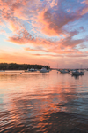 Cloud Reflections and Boats in Lake Tashmoo at Sunset, Martha's Vineyard, Tisbury, MA