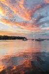 Cloud Reflections and Boats in Lake Tashmoo at Sunset, Martha's Vineyard, Tisbury, MA