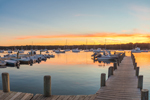 Boats and Pier in Lake Tashmoo at Sunset, Martha's Vineyard, Tisbury, MA