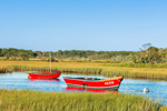 Two Red Boats in Early Evening Light on Herring River, Cape Cod, Harwich, MA