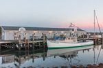 Fishing Boat and Wharf in Early Morning Light at Cuttyhunk Pond, Cuttyhunk Island, Elizabeth Islands, Town of Gosnold, MA
