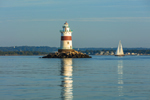 Latimer Reef Lighthouse in Early Morning Light with Reflections in Fishers Island Sound, Long Island, Southold, NY