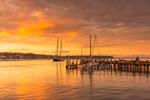 Sunset at Vineyard Haven Shipyard Wharf and Vineyard Haven Harbor, Vineyard Haven, Martha's Vineyard, Tisbury, MA