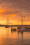 Sunset at Vineyard Haven Shipyard Wharf and Vineyard Haven Harbor, Vineyard Haven, Martha's Vineyard, Tisbury, MA