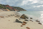 Rocks and Surf on Sandy Beach at Gay Head Cliffs, Martha's Vineyard, Aquinnah, MA