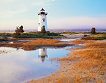 Edgartown Lighthouse in Morning Light with Reflection