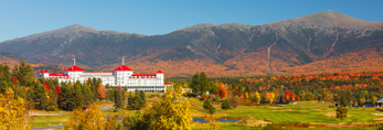Mount Washington Hotel and Resort in Fall with Presidential Range in Background, White Mountains Region, Bretton Woods, Carroll, NH