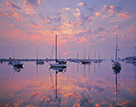 Sailboats at Sunrise in North Cove, Harbor of Refuge, Connecticut River