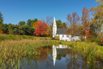 St. Matthews Episcopal Chapel in Fall Reflecting in Small Pond, White Mountains Region, Sugar Hill, NH