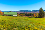 White Barn with Green Roof and Green Field, Franconia Range in Background, White Mountains Region, Sugar Hill, NH