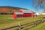 Big Red Barn in Fall at Pioneer Farm, Established 1785, Columbia, NH