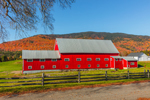 Big Red Barn in Fall at Pioneer Farm, Established 1785, Columbia, NH