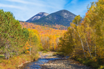 Nash Stream, Percy Peak, and South Percy Peak in Fall, View from Stark, NH