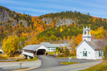 Historic Stark Covered Bridge and Stark Union Church in Fall, Stark, NH