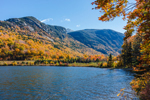 Echo Lake with Eagle Cliff and Mount Lafayette in Fall, Franconia Notch State Park, White Mountains Region, Franconia, NH