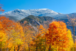 Snow-covered Summit of Mount Lafayette with Eagle Cliff in Fall, Franconia Notch State Park, White Mountains Region, Franconia, NH