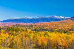Snow-covered Summits of Presidential Range in White Mountains in Fall, White Mountain National Forest, View from Sugar Hill, NH