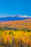 Snow-covered Summit of Mount Washington in White Mountains in Fall, White Mountain National Forest, View from Sugar Hill, NH