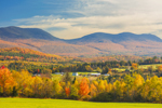 Farm in Valley in Fall with Pilot Range of White Mountains in Background, View from Lancaster, NH