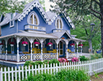 Blue Gingerbread House with White Picket Fence and Flowers, Martha's Vineyard, Oak Bluffs, MA