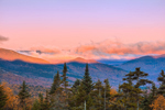 Sunrise over White Mountain National Forest in Fall, View from Pemigewasset Overlook on Kancamagus National Scenic Byway, Lincoln, NH