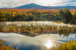 Mist Rising from Pond on Deception Brook with Reflection of Mt. Deception, White Mountain National Forest, Carroll, NH