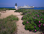"""Ferry """"Nantucket"""" passing by Brant Point Light with Roses in Bloom"""