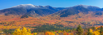 Dusting of Snow on Summits of Mount Lafayette and Cannon Mountain in Fall, White Mountain National Forest, View from Sugar Hill, NH