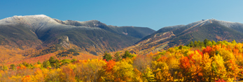 Fall Foliage and Franconia Range with Snow-capped Mount Lafayette and Cannon Mountain, White Mountain National Forest, View from Sugar Hill, NH