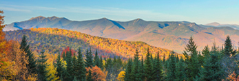 View of Franconia Range and White Mountain National Forest in Fall, Woodstock, NH
