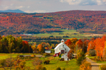Vermont Farm and Woodlands in Fall with Jay Peaks in Distance, Northeast Kingdom, View from Irasburg, VT
