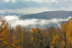 Receding Valley Fog over Rural Vermont Farmland in Fall, Northeast Kingdom, Wheelock, VT